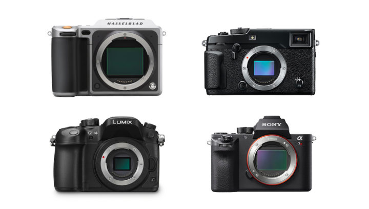 Hasselblad X1D vs Sony A7r II vs Fujifilm X-Pro2 vs Panasonic GH4 – Size comparison