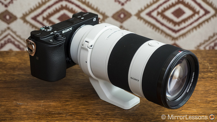 The 70-200mm f/4 on the a6300 (similar size to the a6500)